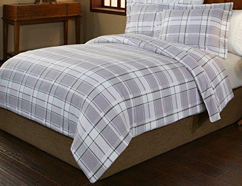 6 Ounce Flannel (Pointehaven 3-Piece 200 GSM Flannel Duvet Cover Set, King/California King, Printed, Jensen)