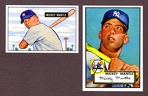 Mickey Mantle 1951 Bowman Rookie Reprint, 1952 Topps Baseball Rookie Reprint (2) Card Lot W/ Original Back (Yankees)