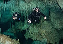 Cave divers in Dreamgate cave system Yucatan Peninsula Mexico is a licensed reproduction that was printed on Premium Heavy Stock Paper which captures all of the vivid colors and details of the original. The overall paper size is 17.00 x 11.00...