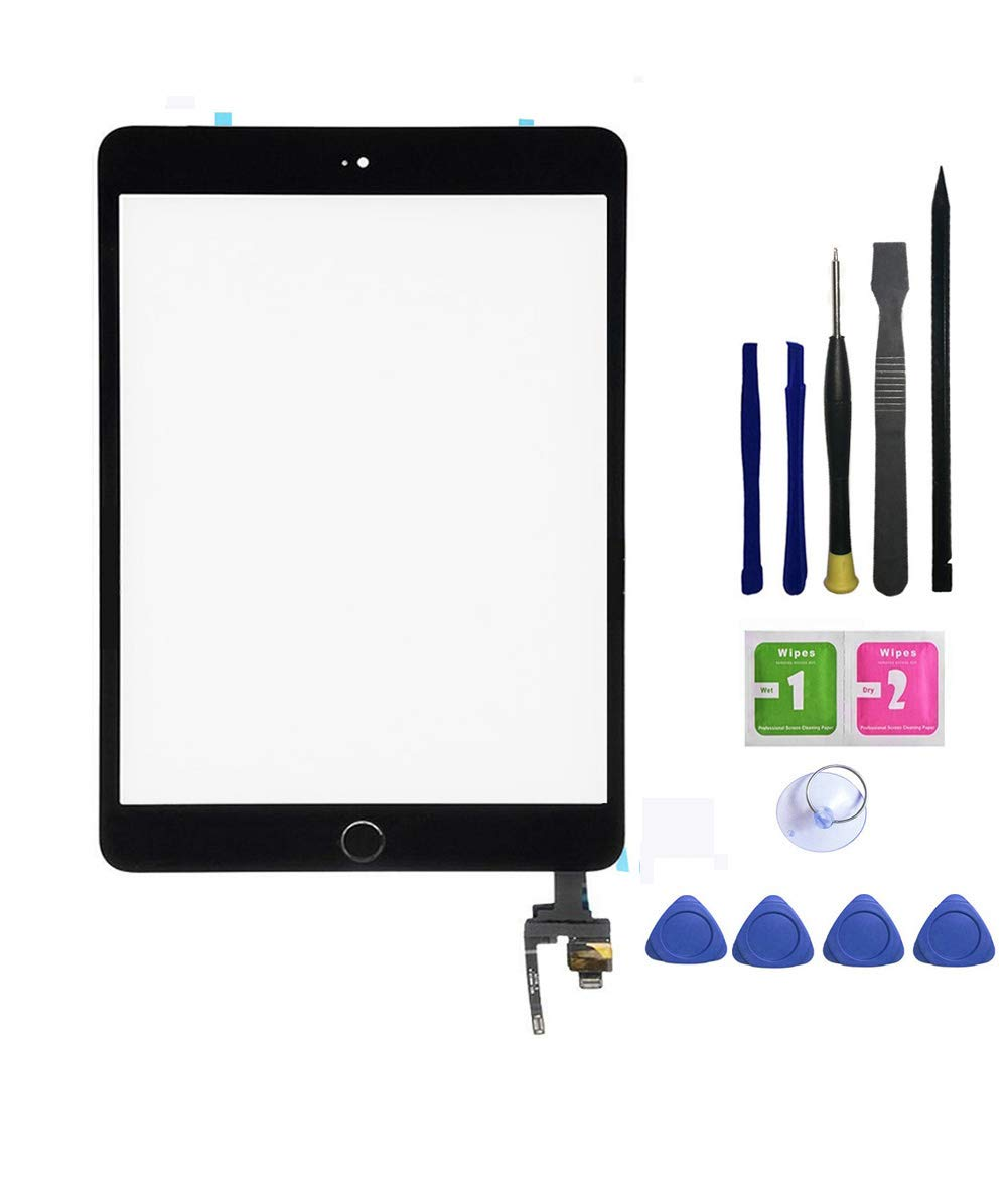 FeiyueTech iPad Mini 3 Touch Screen Replacement(Original Black), Front Glass/Digitizer Touch Panel IC Chip Connector, Home Button,PreInstalled Adhesive Repair Tool Kit (Black)
