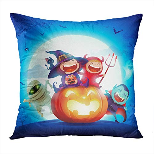 Meofo Throw Pillow Cover Halloween Kids Costume Party Group Kids Decorative Polyester Soft Pillowcase for Sofa Office Cushion Bedroom Car Square 18 x 18 Inch]()
