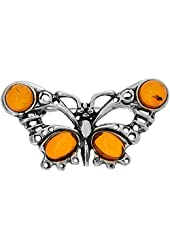Sterling Silver Butterfly Russian Baltic Amber Brooch Pin, 1 3/16 inch wide