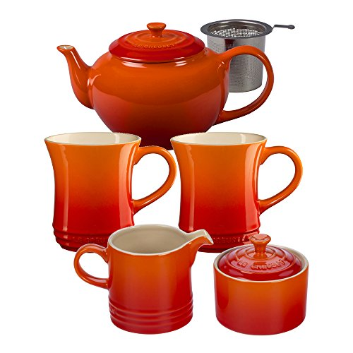 Le Creuset Flame Stoneware 5 Piece Teapot Service Set with M
