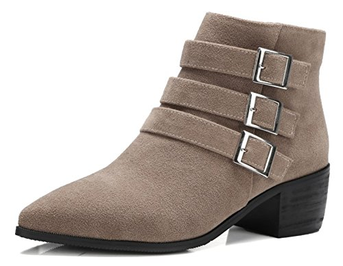 Sfnld Women's Cool Pointed Toe Block Heel Side Zip Buckle Strap Solid Ankle Bootie Apricot 12 B(M) US