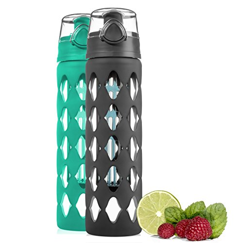 Glass Water Bottle Fruit Infuser with Silicone Sleeve 20 oz - BPA-Free Borosilicate Glass and Flip Top- Perfect for Yoga Hiking Gym or any Sports - Fruit Infused Water Bottle - Sports Glasses Water