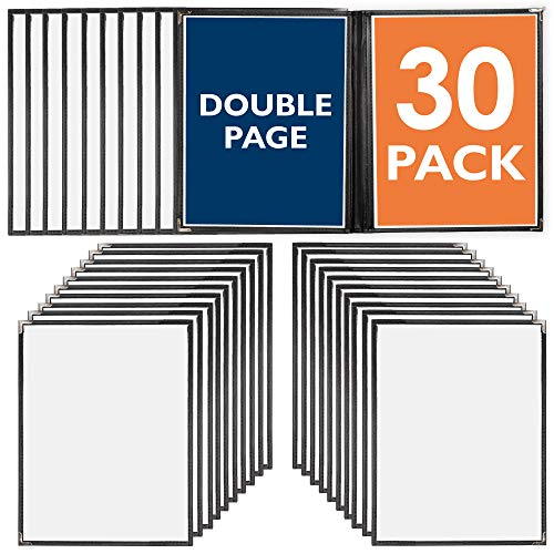 30 Pack of Menu Covers - Double Page, 4 View, Fits 8.5 x 11 Inch Paper - Restaurant Menu Covers