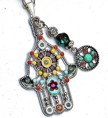Long Hamsa Pendant Necklace with Painted Flower Dangling Turquoise Bead and Swarovski Crystal (Painted Flower Necklace)