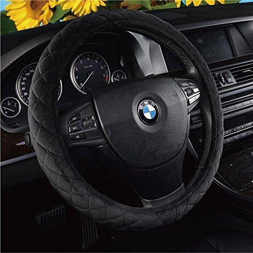 U&M Auto Steering Wheel Cover, Soft Velvet Feel Car Steering Wheel Cushion Protector Universal for 15 inch,Smooth Grip, Anti Slip & Odor - Velour Belt Cotton