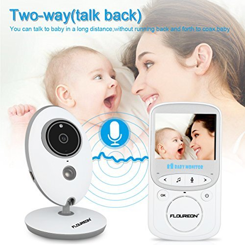FLOUREON Digital Wireless Baby Monitor 2.4 Inch Infant IR LCD Video Nanny Security Camera Temperature Display 2 Way Talk Night Vision Lullabies (2.4\