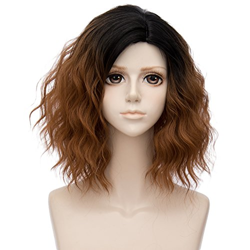 (Alacos 35cm Fashion Black Dark Roots Ombre Short Curly Bob Christmas Daily Costumes Wig for Women +Wig Cap)
