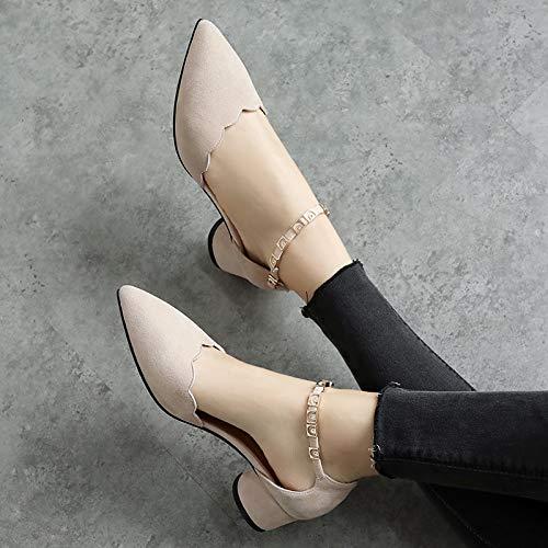 Apricot Épaisse Des L'été Talons Bouton Femme Ouvert Sangles Hauts Sandales De G Bout Avec À Yukun Milieu Chaussures Un Au 0nvmN8w