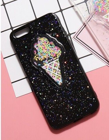 iPhone 8/iPhone 7 Case(4.7inch),Blingy's Shiny Bling Bling Glitter Ice Cream with Sprinkles Rubber TPU Case for iPhone 8/iPhone 7 (Black Ice Cream)