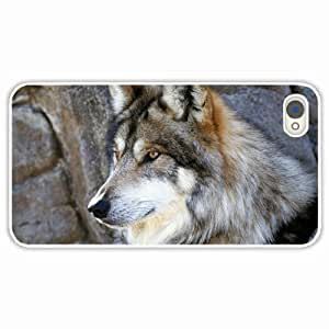 Zheng caseZheng caseiPhone 4/4s 4S Black Hardshell Case fluffy dog wolf White Desin Images Protector Back Cover