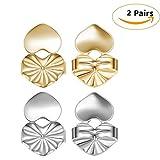 #6: Beautyonline 2 Pairs Earrings Backs Earring Lifters Hypoallergenic Adjustable Lifts Earrings Accessories As Seen on TV (Silver+Gold)