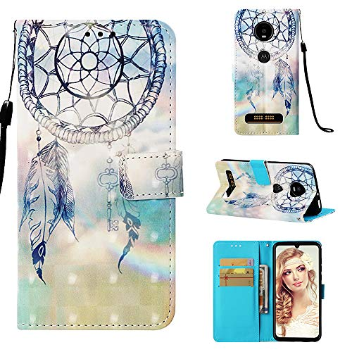 Moto Z4 Play Case, Colorful Printed Wallet Case PU Leather Magnetic Flip Cover Shock Resistant Flexible Soft TPU Protective Bumper Card Slots Kickstand Lanyard for Motorola Moto Z4 Play Dreamcatcher
