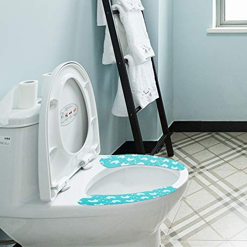 Blue MXY Toilet Seat Cover Mat Washable Toilet Cushion Paste Type Portable and Warmer Soft Pad for Bathroom