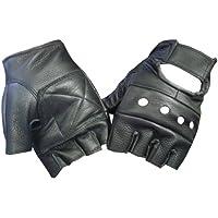 Black Leather Fingerless Motorcycle Biker Glove - Leatherbull (Free U.S. Shipping)