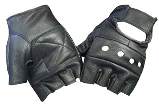 Black Leather Fingerless Motorcycle Biker Glove