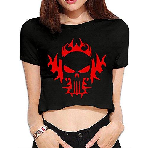 (Women's Red Skull Tattoo Navel Shirts)