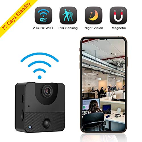 Spy Camera Wireless Hidden Camera Mini WiFi Nanny Cam Security Camera 72 Days Standby with PIR Night Vision Motion Activated via iPhone Android APP