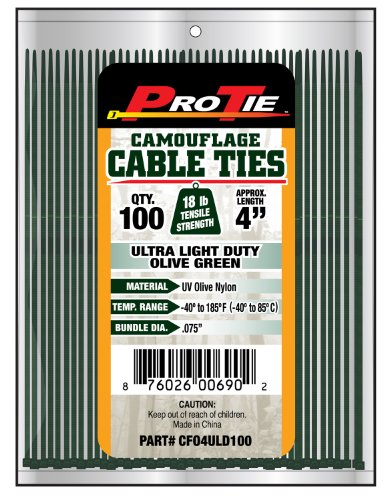 Pro Tie CFO4ULD100 4-Inch Olive Green Nylon Ultra Light Duty Cable Ties, - Green 4 Inch Dark
