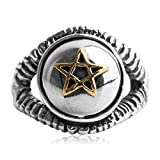 Adisaer Biker Rings Silver Ring for Men Gold Pentagram Star Ring Size 9.5 Vintage Punk Jewelry