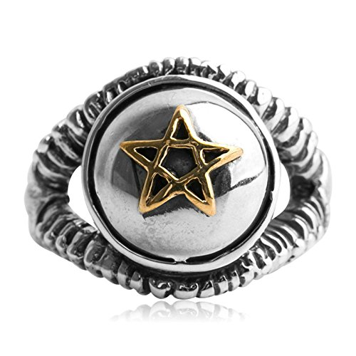 Beydodo Mens Silver Ring, Gold Pentagram Star Ring Size 11 Men Rings Hip Hop by