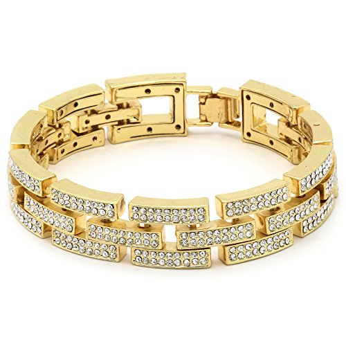Mens Gold Tone 2-Line Link Iced Out Clear Cz Stones Hip Hop Bracelet 8.7