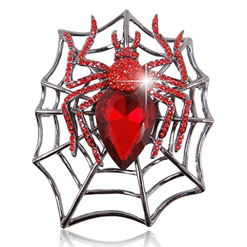 Ever Faith - Cristal Autrichien Araignée Goutte d'eau Haloween Partie Broche Rouge Ton Noir N02145-4