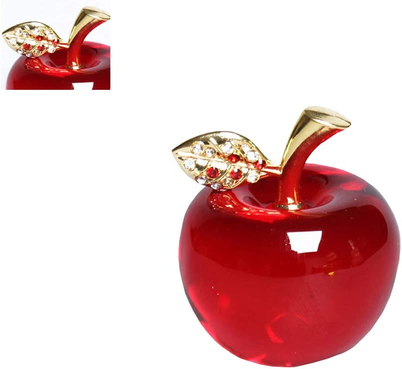 Xiton 1pc Popular Christmas Crystal Apple Paperweight Glass Crafts Home Decoration Car Ornaments Figurine Miniature Souvenir Gifts (Crystal Leaf)