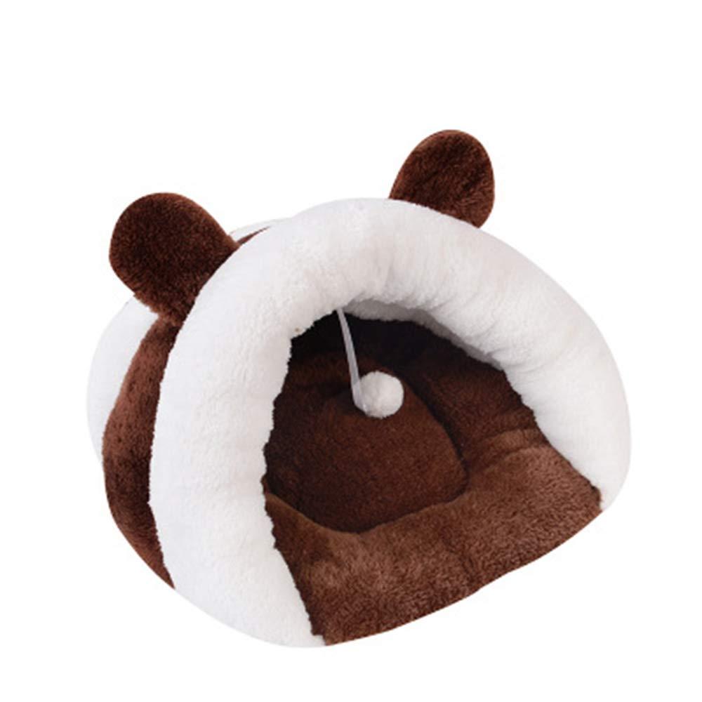 Brown Medium brown Medium Winter Warm cat Litter deep Sleep Microphone pet nest Thick semi-Closed cat Litter,Brown,M