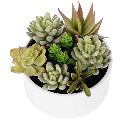 MyGift Decorative Round Faux Potted Succulents/Artificial Plant in 6 Inch Glazed White Ceramic Flower Pot -
