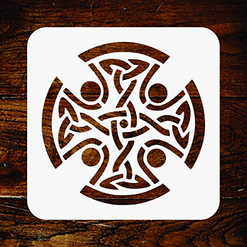 Celtic Cross Stencil - 6.5 x 6.5 inch - Reusable Religious Tribal Knotwork Wall Stencils Template - Use on Paper Projects Scrapbook Journal Walls Floors Fabric Furniture Glass Wood ()