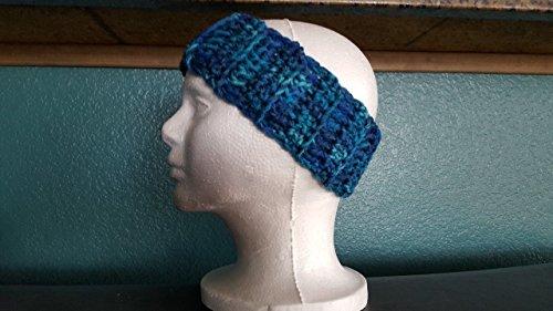 crocheted blue, teal earmuff headband