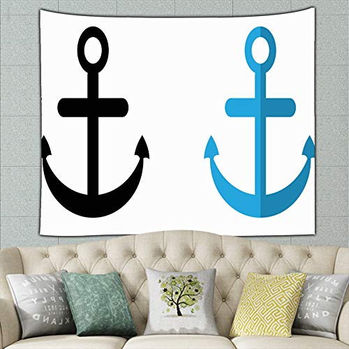 zuo chunhong5 Anchor Black icon Flat Design Signs Symbols Technology Tapestry Wall Hanging, Wall Tapestry with Art Nature Home Decorations for Living Room Bedroom Dorm Decor 50ʺ × 60ʺ