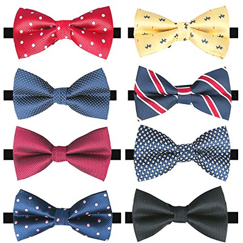 (8 PACKS Adjustable Pre-tied Bow Ties, Elegant Bow Ties for Men Boys in Different Colors (A))