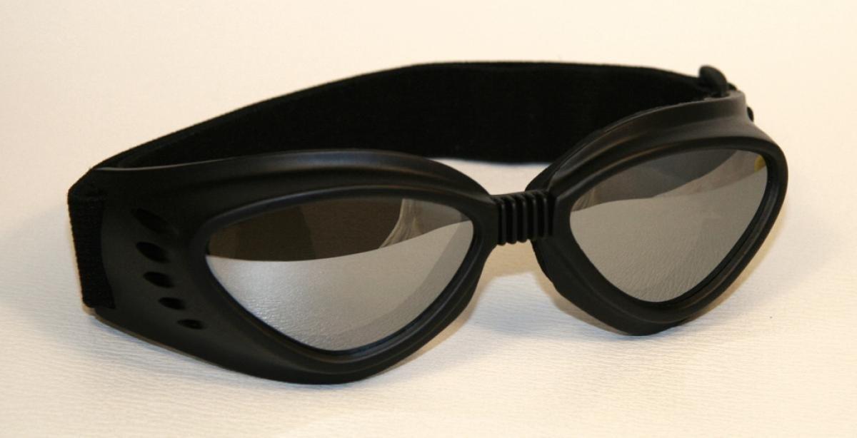Lunettes de moto noir, lentilles ré flé chissant, monture de lunettes noir, SBR caoutchouc lentilles réfléchissant Qubeat GmbH
