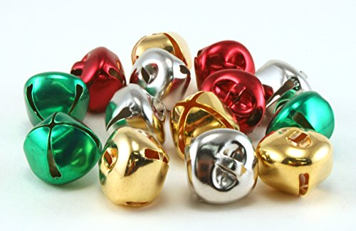 - 3/4 inch 20mm Silver Gold Red Green Mix Small Jingle Bells Charms 20 Pieces