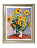 DecorArts - Monet Sunflowers, Claude Monet Art Reproduction. Giclee Print& Museum Quality Framed Art for Wall Decor.