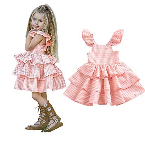 Newborn Kids Baby Girl Dress Tutu Sleeveless Ruffled Plaid Straps Dress Princess Party Dress Clothes (18-24 Months, Pink Plaid 3 Layers Pleated Dress) -