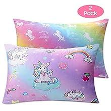 "Nidoul Toddler Pillowcases, 2 Pack Unicorn Rainbow Kid Pillow Cases, 14""x19""for 13""x18"", 12""x16"" Pillow, Ultra Soft Velvet Bedding Pillow Case Cover for Home Travelling"
