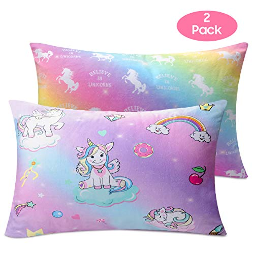 Toddler Girls Pillowcase, 2 Pack Unicorn Rainbow Pillowcases, 14x19 for 13x18, 12x16 Pillow, Ultra Soft Velvet Bedding Pillow Case Cover for Home Travelling