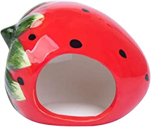 Nuxn Ceramic Hamster Bed Houses Cartoon Watermelon Shape Small Pet Animals Habitat Cage House Summer Cool Hamster Hideout Nest