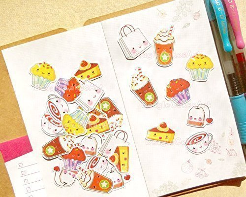 Afternoon Tea Stickers - Stickers for Planner of All Types - Calendar and Schedule Stickers - Girl's Day Out and Girl Time Stickers - Kawaii Cute Scrapbook Stationery Sticker Flakes Calendar Type