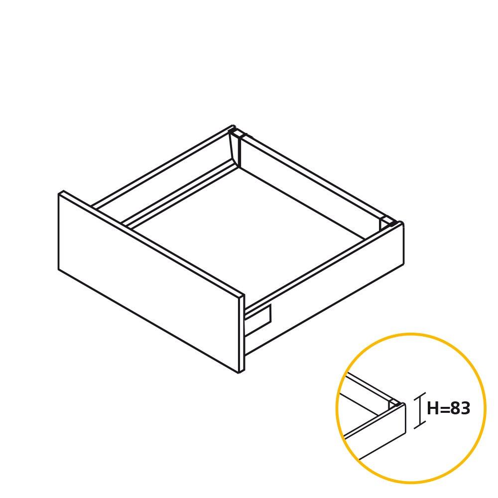Kit de caj/ón para cocina o ba/ño con guias de extracci/ón total y cierre suave Emuca Gris altura 83mm y profundidad 500mm