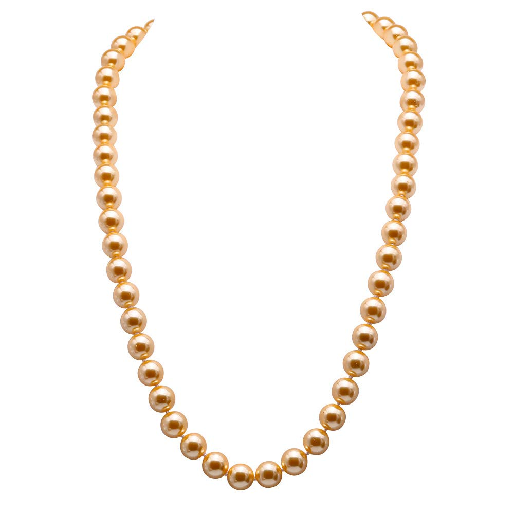 JYX Pearl Necklace AAA Luster 12mm Round Golden Seashell Pearl Necklace for Women 28''