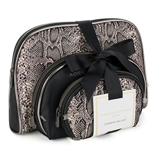 Adrienne Vittadini Cosmetic Makeup Bags: Compact Travel Toiletry Bag Set in Small, Medium and Large for Women and Girls - Black and White Snake