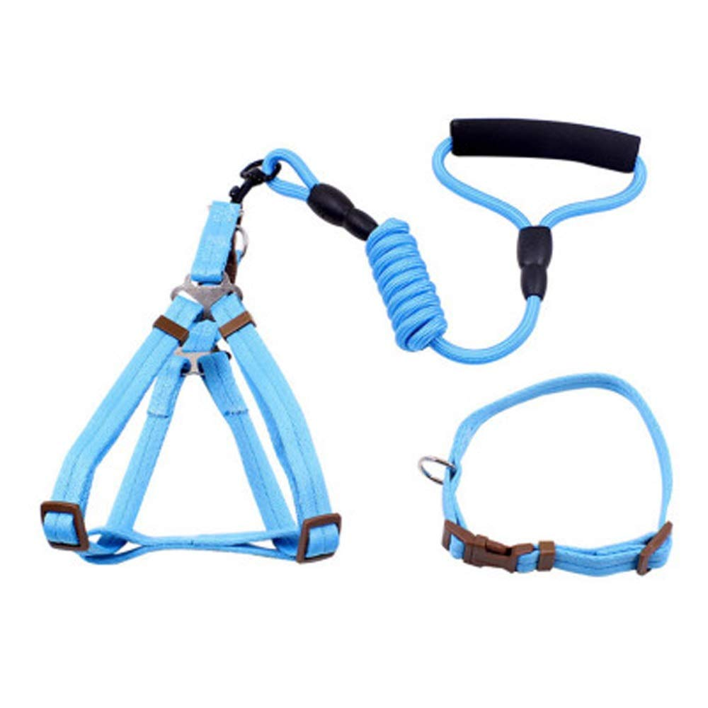 bluee Dog leashes pet Small Medium and Large Dogs Teddy golden Retriever cat Chest Strap Collar Collar Leash Dog Leash (color   bluee)