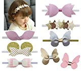 DANMY Baby Girl Rhinestone Crown Headbands Toddler Princess Headband Hair Accessories (Band and Clip (8pcs))