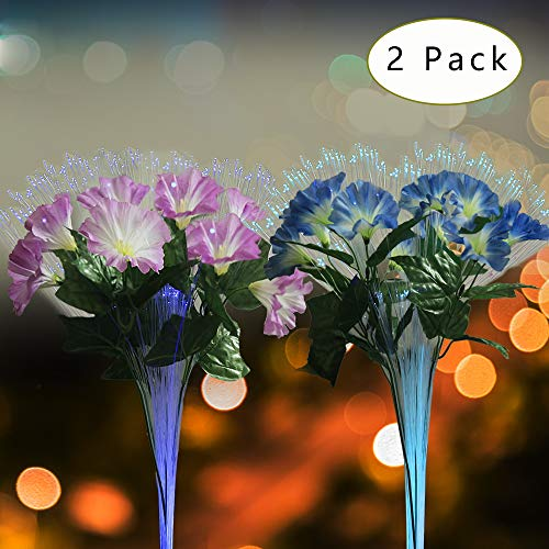 dapai FB-01 Fiber Optic Flower LED Solar Garden Stake Lights, Pink+Purple